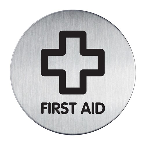 Sign Adhesive Pictogram 83mm First Aid Stainless Steel Durable