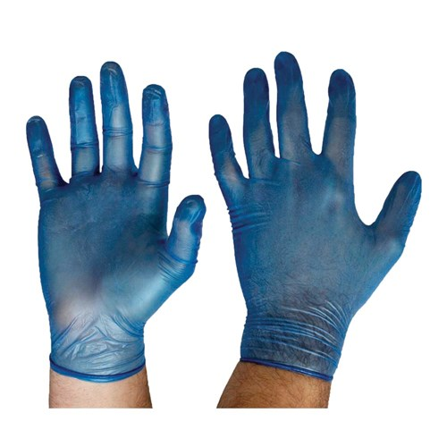 Glove Disposable Vinyl LGE Powder Free Blue Feathertouch Non-Medical 1000/Ctn